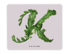 Load image into Gallery viewer, letter k vegetable print table mats personalised alphabet placemat