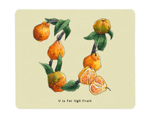 Load image into Gallery viewer, letter u alphabet placemat fruit and vegetable print