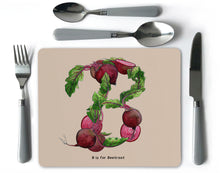 Load image into Gallery viewer, letter b vegetable print alphabet placemat new home gift