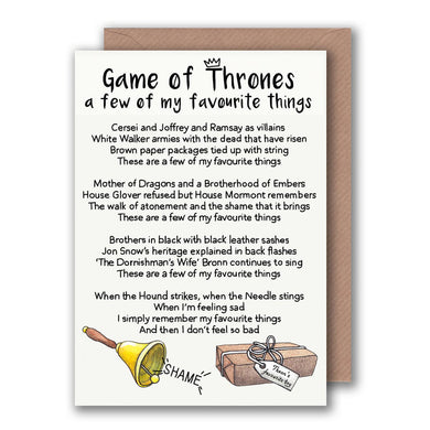 funny game of thrones greeting card for her