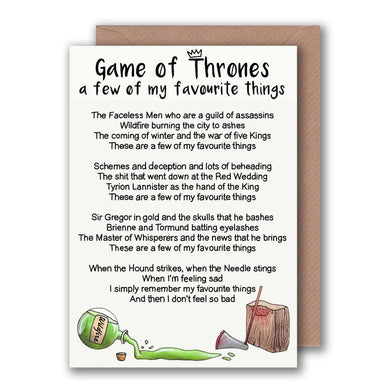 funny game of thrones birthday card for her