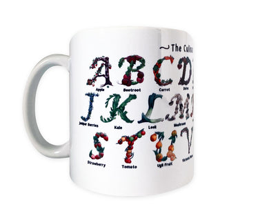fruit and vegetable print coffee mug