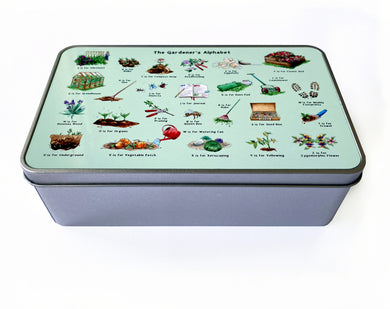 the gardeners alphabet storage tin