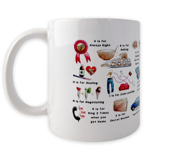 the mothers alphabet coffee mug. mothers day gift idea for tea lover