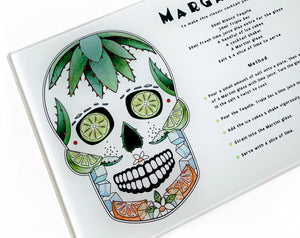 day of the dead margarita sugar skull gothic cutting board