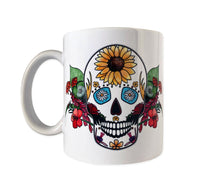 Load image into Gallery viewer, day of the dead summer skull coffee mug skull gift idea
