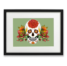 Load image into Gallery viewer, autumn inspired day of the dead mexican sugar skull print