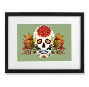 autumn inspired day of the dead mexican sugar skull print