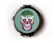 Load image into Gallery viewer, Green day of the dead skull compact mirror for her