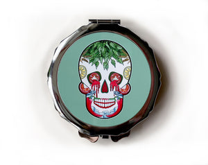 Green day of the dead skull compact mirror for her