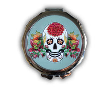 Load image into Gallery viewer, gothic sage sugar skull compact mirror