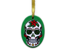 Load image into Gallery viewer, green skull christmas tree decoration inspired by the day of the dead festival