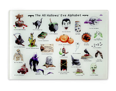 the halloween alphabet glass cutting board halloween gift idea for her