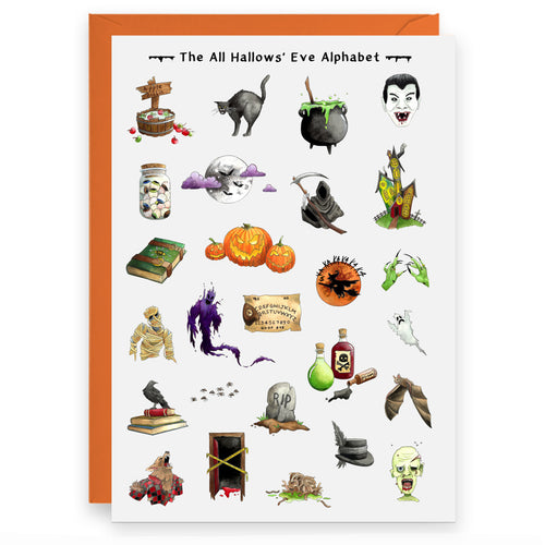 the halloween alphabet greeting card suitable for halloween birthdays