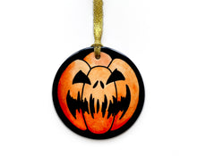 Load image into Gallery viewer, scary carved pumpkin hanging halloween decoration