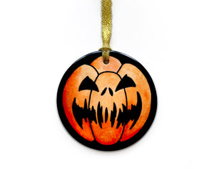 scary carved pumpkin hanging halloween decoration