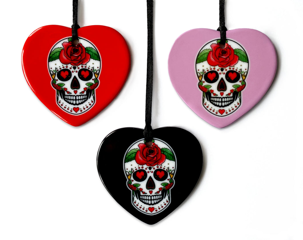 gothic home decor for valentines day. skull love heart ornaments