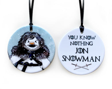 game of thrones jon snowman christmas tree decoration