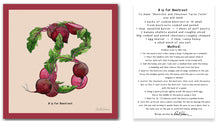 Load image into Gallery viewer, personalised kitchen wall art and recipe card alphabet letter b