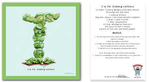 personalised kitchen wall art and recipe card alphabet letter i