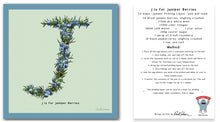 Load image into Gallery viewer, personalised kitchen wall art and recipe card alphabet letter j