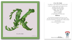 personalised kitchen wall art and recipe card alphabet letter k