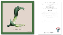 Load image into Gallery viewer, personalised kitchen wall art and recipe card alphabet letter l