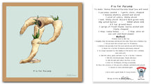 Load image into Gallery viewer, personalised kitchen wall art and recipe card alphabet letter p