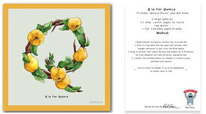 personalised kitchen wall art and recipe card alphabet letter q