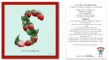 Load image into Gallery viewer, personalised kitchen wall art and recipe card alphabet letter s
