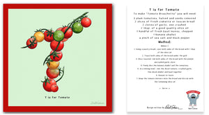 personalised kitchen wall art and recipe card alphabet letter t
