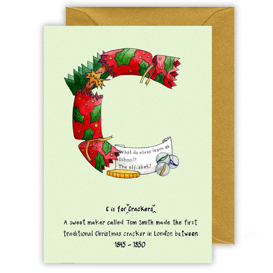 c is for christmas crackers letter c personalised christmas cards