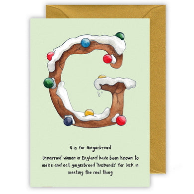 g is for gingerbread alphabet letter g personalised christmas card