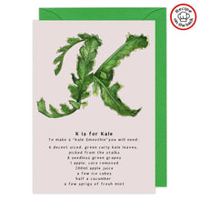 Load image into Gallery viewer, letter k personalised birthday card