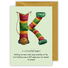 Load image into Gallery viewer, k is for knitted christmas jumpers personalised christmas card