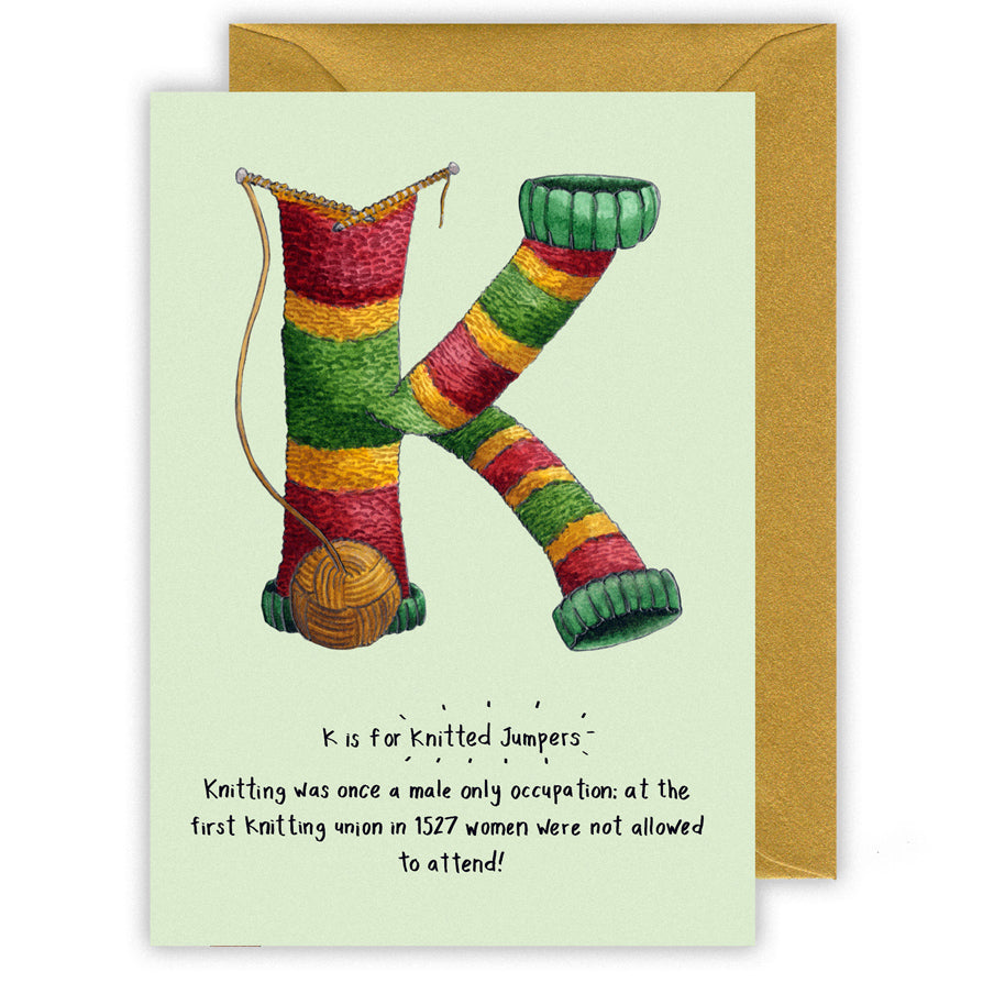 k is for knitted christmas jumpers personalised christmas card