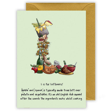 letter l personalised alphabet letter christmas card