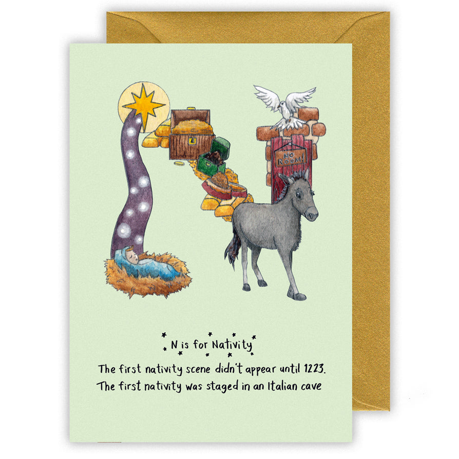 n is for nativity personalised alphabet christmas card