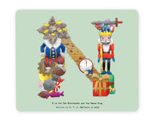 Load image into Gallery viewer, letter n alphabet placemat based on the fairy tale the nutcracker