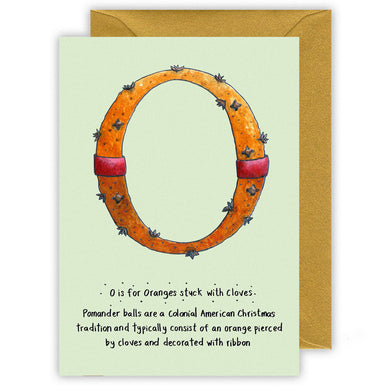 pomander o is for oranges personalised alphabet christmas cards