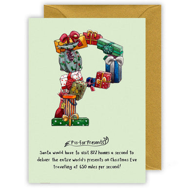 p is for presents letter p personalised alphabet christmas card