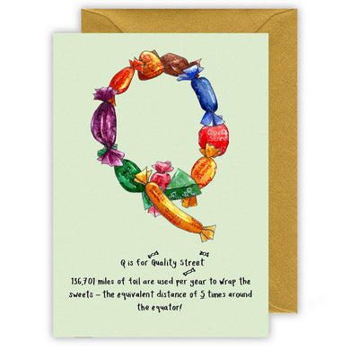 q is for quality street alphabet letter christmas card for name beginning with q