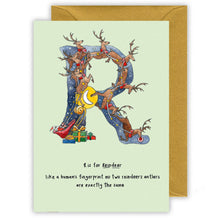 Load image into Gallery viewer, r is for reindeer personalised alphabet letter christmas card