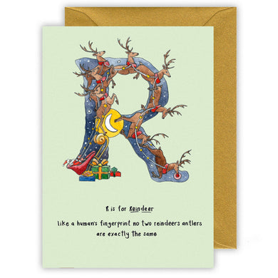 r is for reindeer personalised alphabet letter christmas card