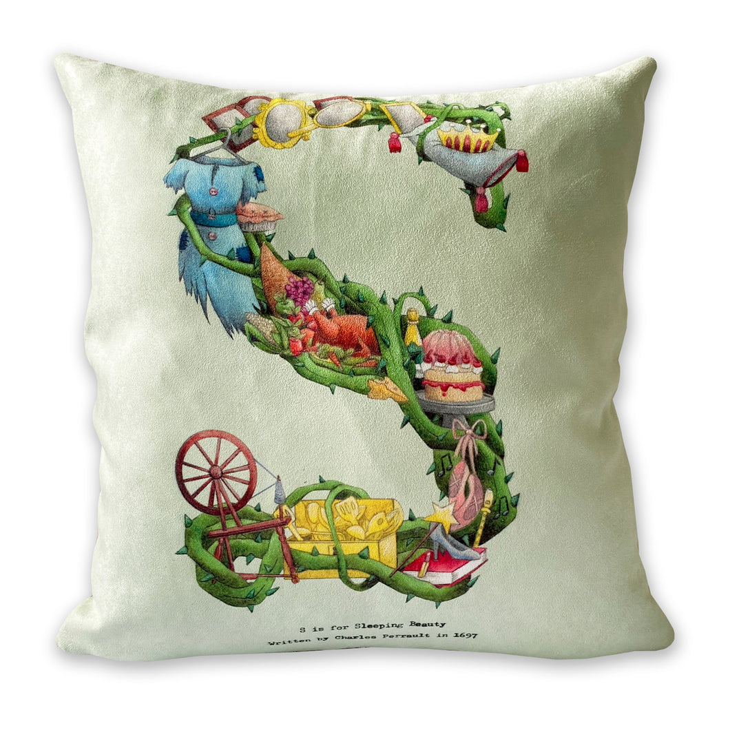 letter s is for sleeping beauty alphabet cushion gift idea for girls