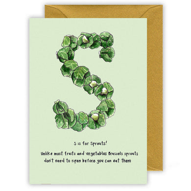s is for sprouts personalised alphabet letter christmas card