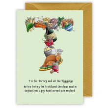Load image into Gallery viewer, t is for christmas turkey personalised alphabet letter t christmas card