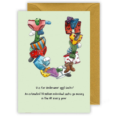 u is for underpants funny personalised alphabet letter u christmas card