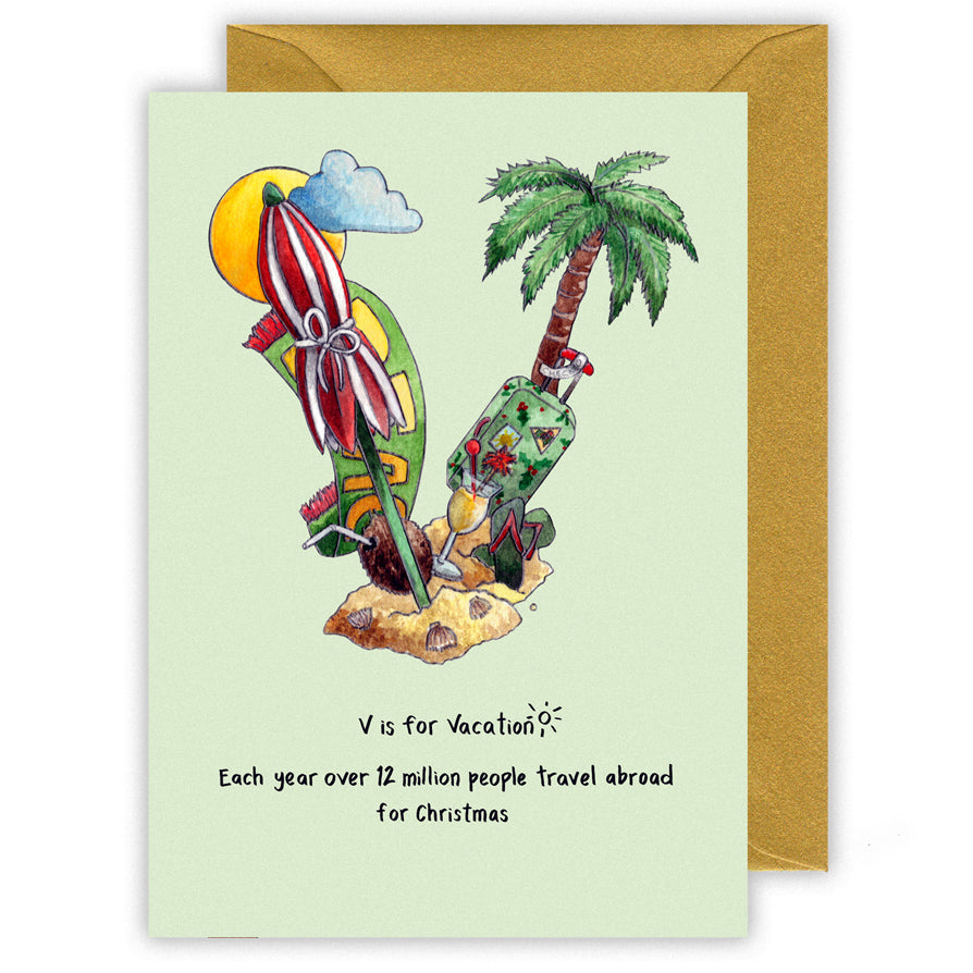 v is for christmas vacation personalised alphabet letter v christmas card