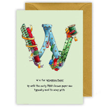 Load image into Gallery viewer, w is for wrapping paper alphabet letter w personalised  christmas card